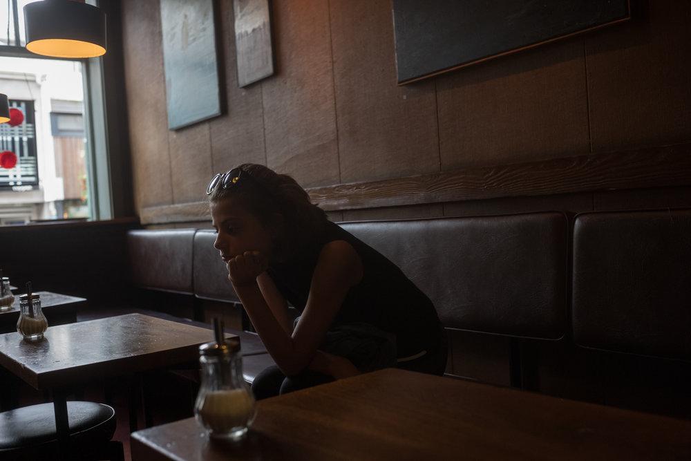Julia in a cafe, Reykjavík