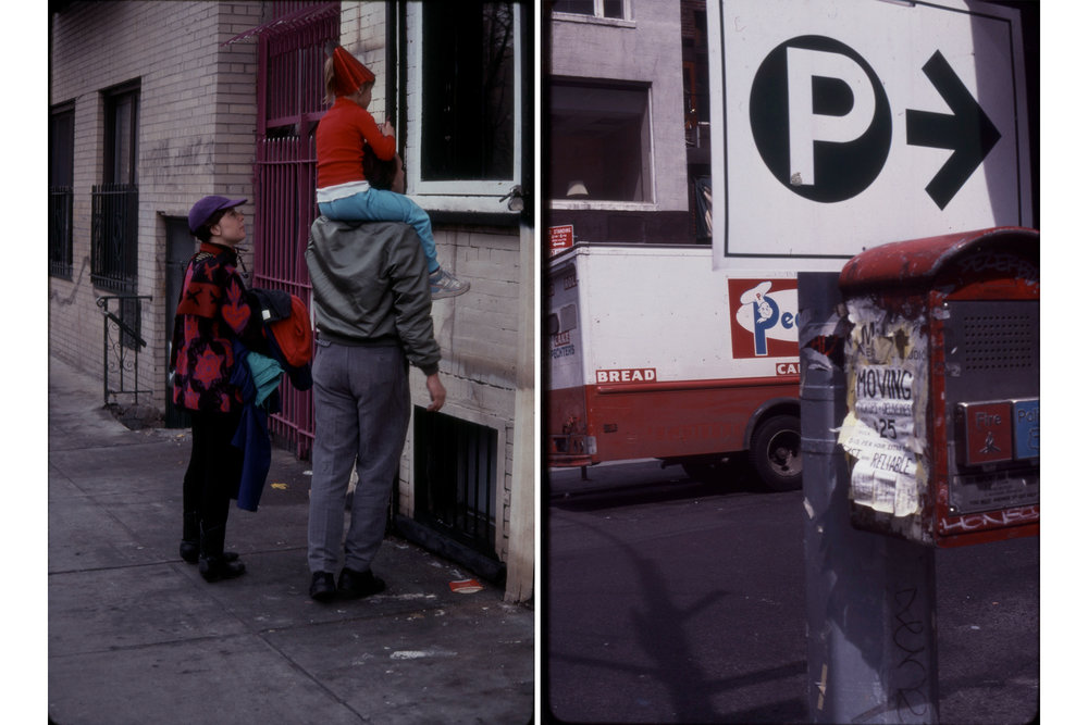 Party Hat Window Peek, March 1990; Bread Truck Parking Sign, c 1990