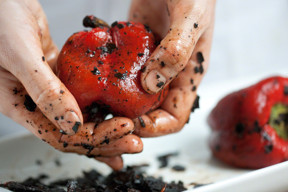 Peeling Roasted Red Pepper