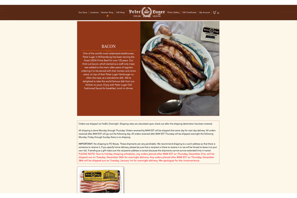 Peter Luger Steakhouse - Bacon for Sale