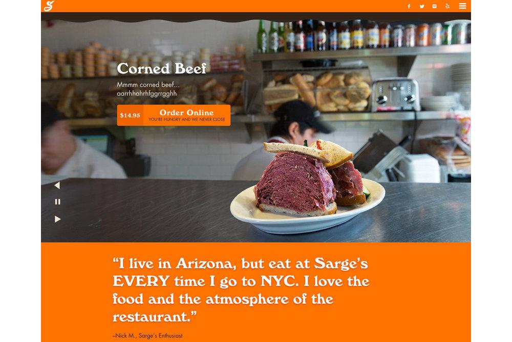 Michael Berman Food Photography - Sarge's Delicatessen Website