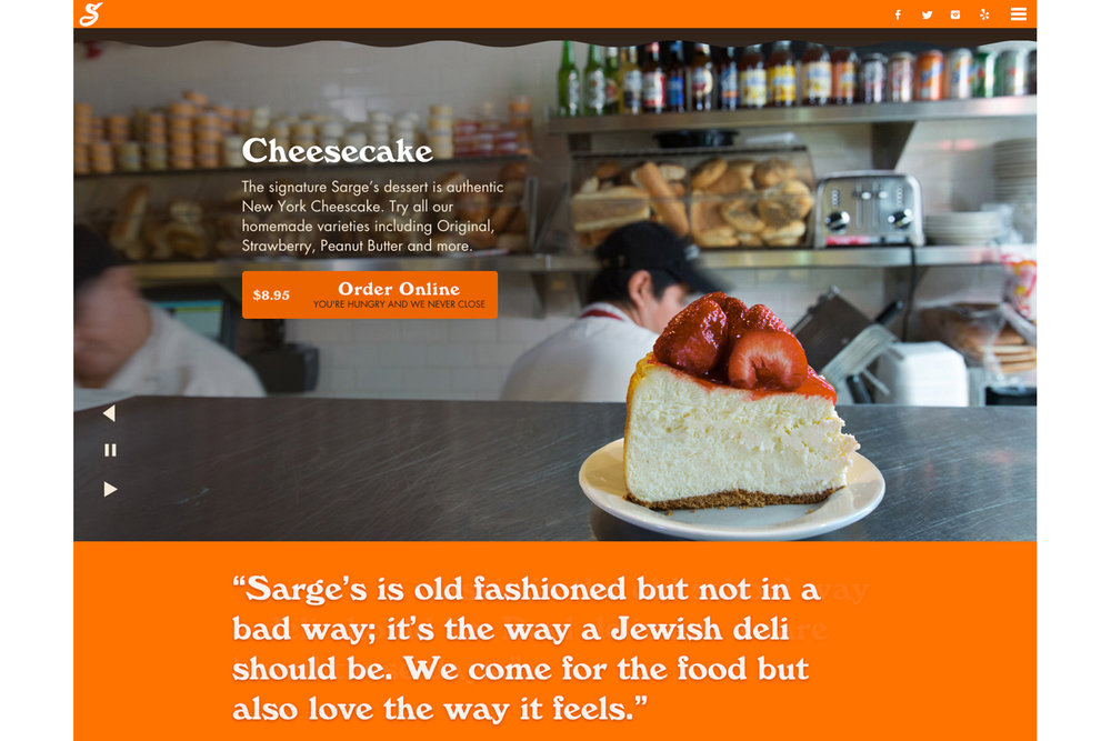 Michael Berman Food Photography - Sarge's Delicatessen Website