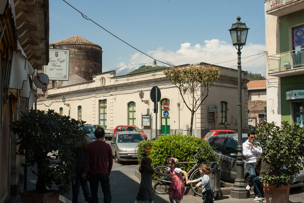 Outside lunch restaurant with Mt. Etna in background, Viagrande