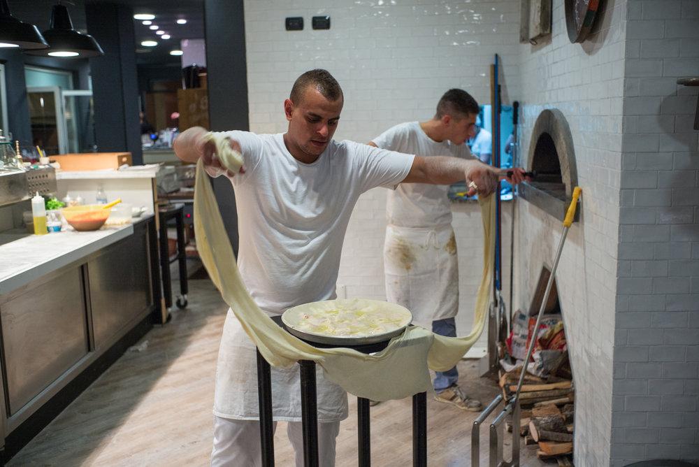 Making focaccia di Recco -Moneglia