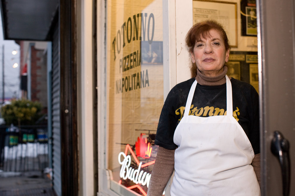 Cookie Ciminieri, runs Totonno's, which was opened by her grandfather in 1924.