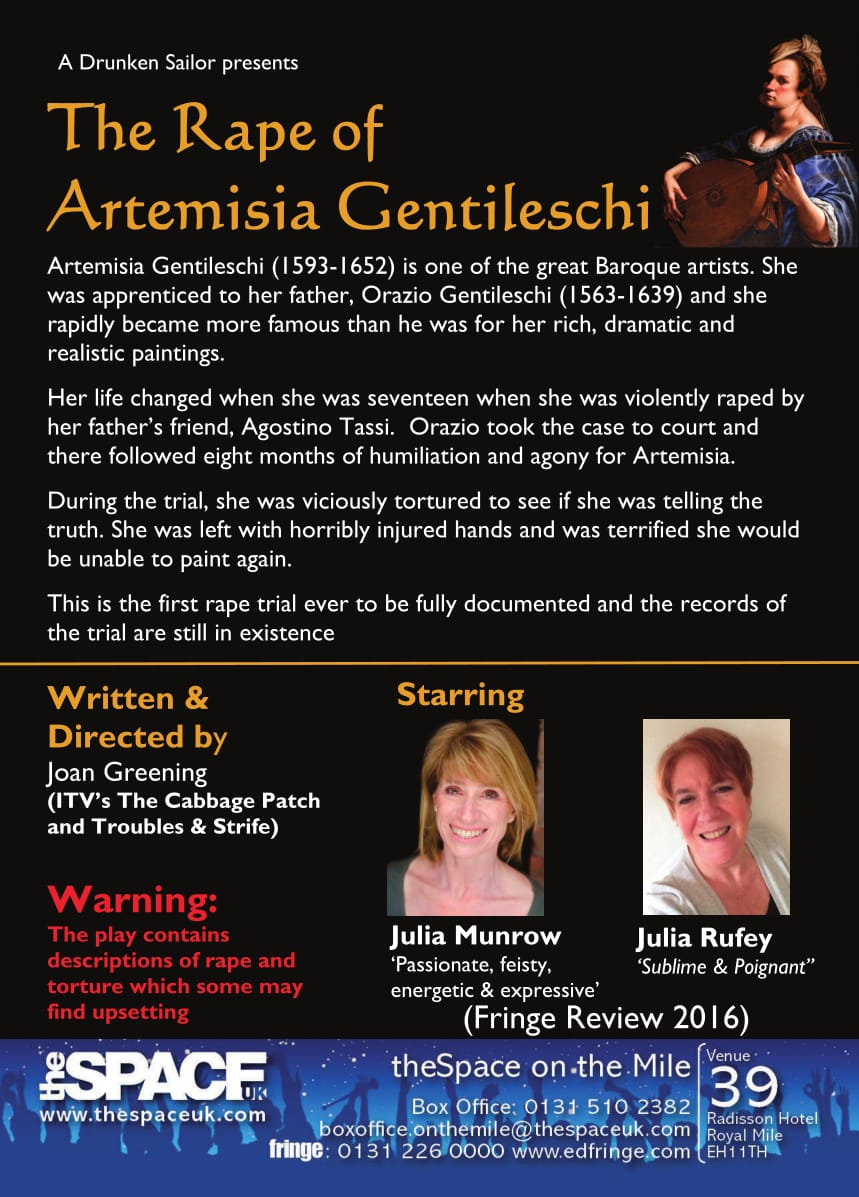 The Rape of Artemisia Gentileschi - 4-26 August, Edinburgh Fringe