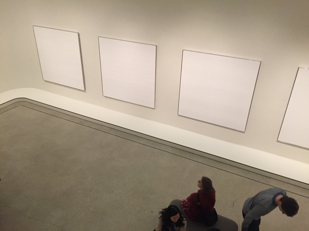 This is Agnes Martin's work, who, *in theory* I admire. She was all about doing whatever the fuck she wanted, which, I feel in practice, is really boring art that just takes up space. So, Agnes, you go girl, taking up all that space with your ladyness in the 50s. But IRL it's boring as hell and makes me feel like the Upper East Side is playing yet another practical joke on me and my $25 admission price tag.