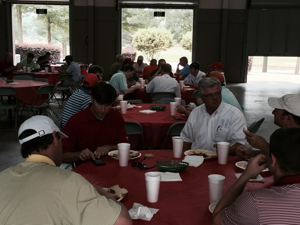 West Section members enjoy lunch before hitting the course.
