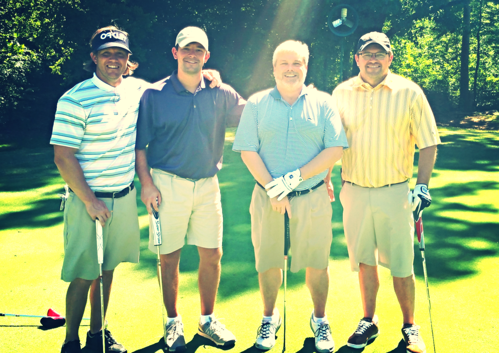 Alabama AGC Vice President Dell McDonald with teammates Jason Smith, Morris Locke, and Jacob Word enjoying a beautiful day on the course at the North Section Golf Tourney.