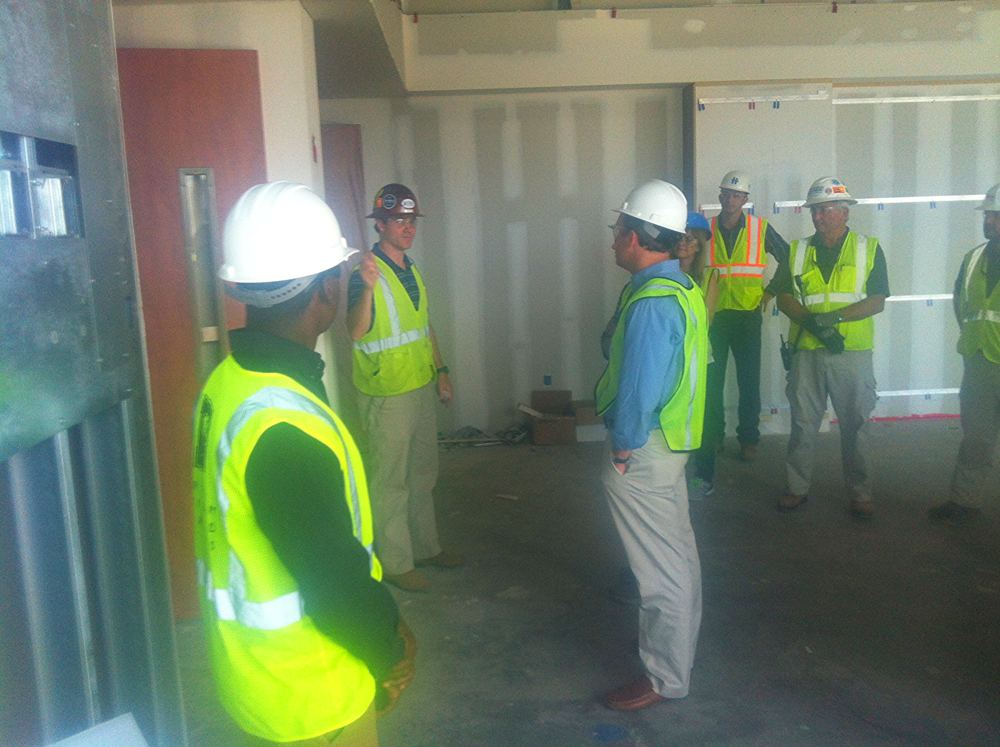 YCF Chairman Brad Tew led around 30 members of the YCF and YAEC on the Job Site Tour of the Grandview Medical Center on June 4.  Tew also serves as Project Manger on the project.