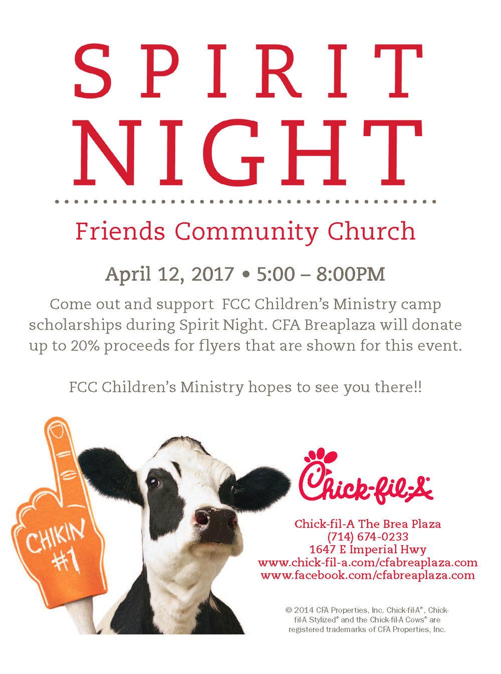FCC Spirit Night April 12