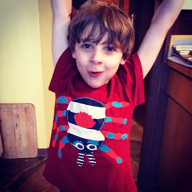 Q's new #miniboden shirt that we got on Kidizen. First time he's ever been excited about an item of clothing!