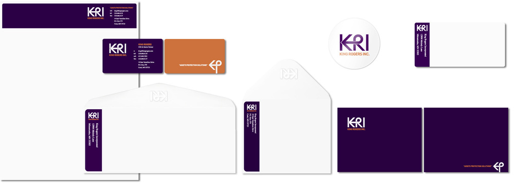 ID Kit including: Letterhead, Business Cards, Embossed Envelope, Thank You Card + Embossed Envelope, Sticker and Mailing Label.