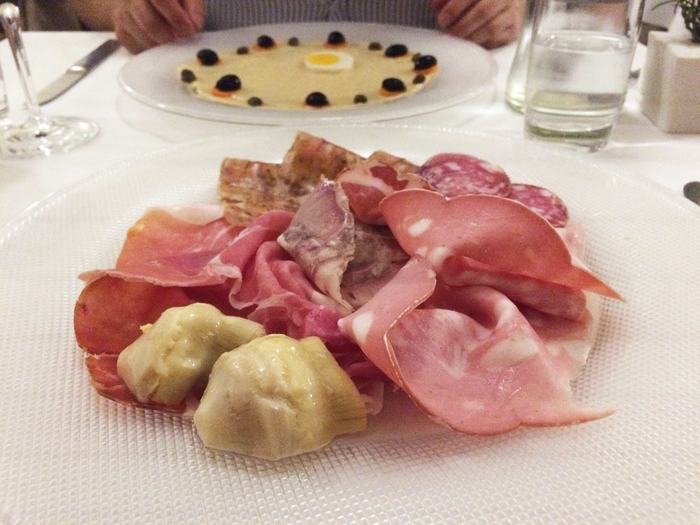 A sampler of charcuterie.