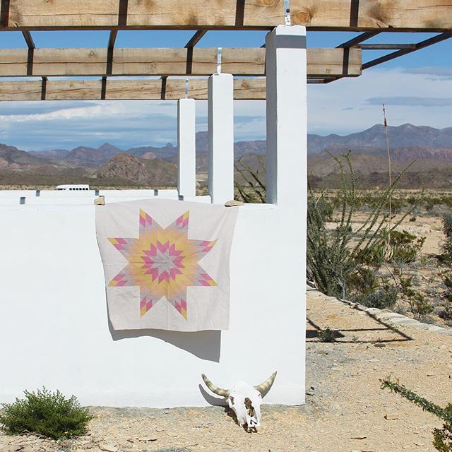 Viva Terlingua! This mini lone star is made of hand-dyed Essex linen using plant-based dyes inspired by @avfkw's book The Modern Natural Dyer. We are on a CityCraft road trip in Terlingua, Texas, for hiking and exploring in Big Bend and the World Championship Chili Cook-Off 🌶. And it turns out that sleeping in a tipi is magical. #basecampterlingua #vivaterlingua @basecampterlingua