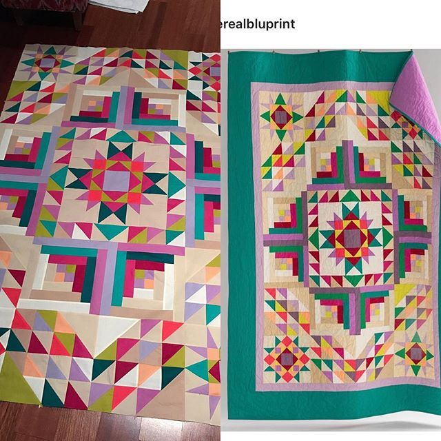 Remember the sample I made from my stash while preparing to film the Canyon Creek quiltalong? Bluprint made it into a kit! @opengatequilts pattern is a stunner no matter what fabric you use! #quilt