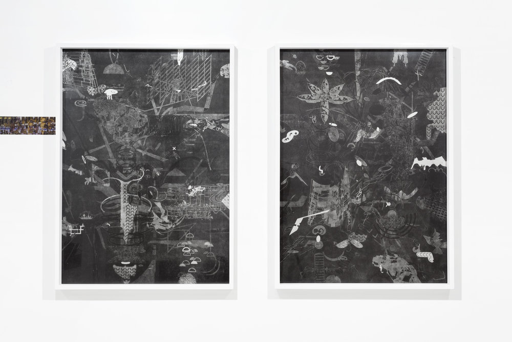 "Exploded View 13 & 14, 2016, Monotype print on Rives BFK, 41"" x 30"" each"