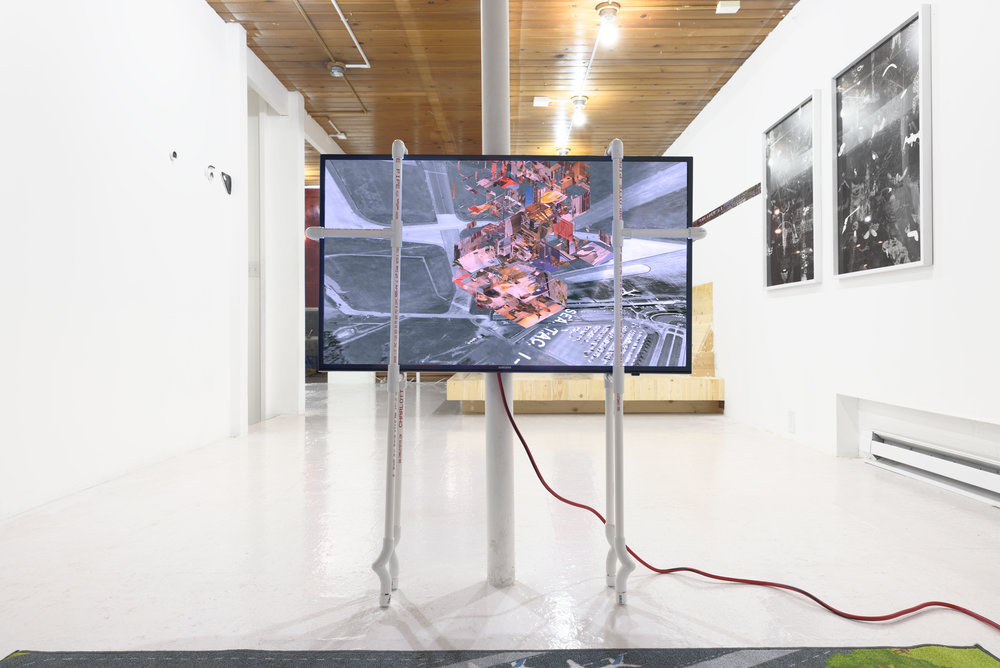 spite mound (frontier), 2017, video, monitor, PVC pipe, & carpet, photo by Ripple Fang