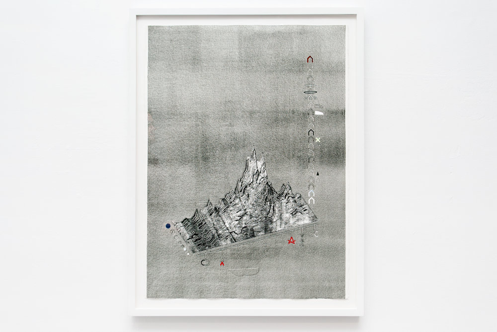 "Darling schematic (diagram of a hypochondria spell), 2015, monotype print on Rives BFK, 22"" x 30"""
