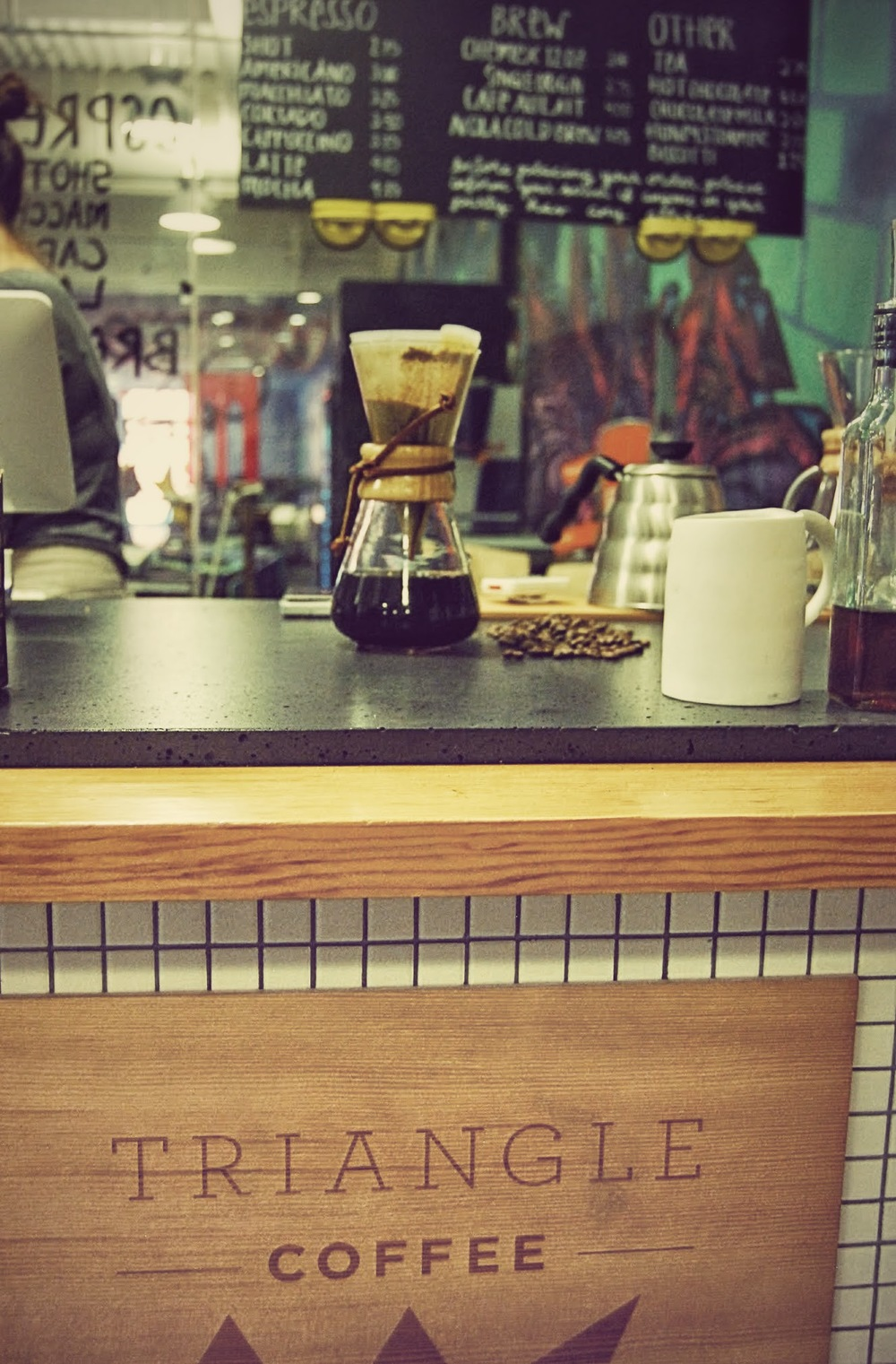 Triangle Coffee opened on September 1st, 2014 and steadily serves about 40 customers a day during the week.