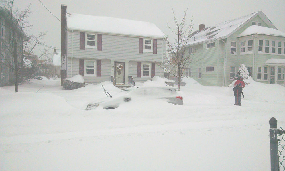View of the winter storm on Tuesday from Quincy, MA.
