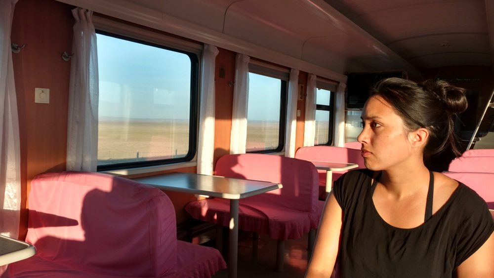 Early breakfast as we roared into Mongolia from China on the Trans-Siberian Railway.