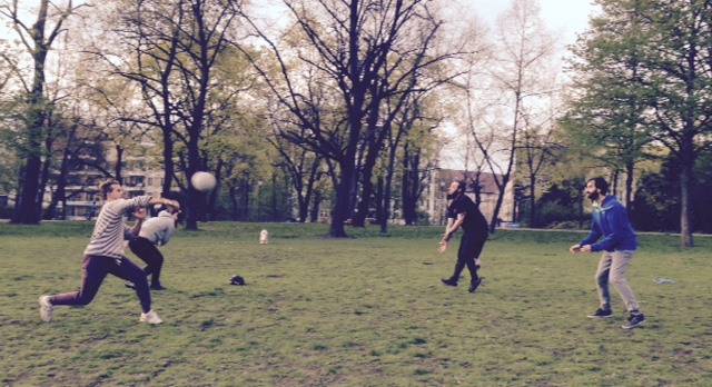 After work dodgeball training in Volkspark Friedrichshain