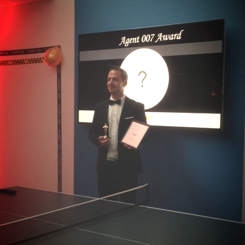 "Somehow our CTO was dressed just perfectly for his ""Agent 007"" award"