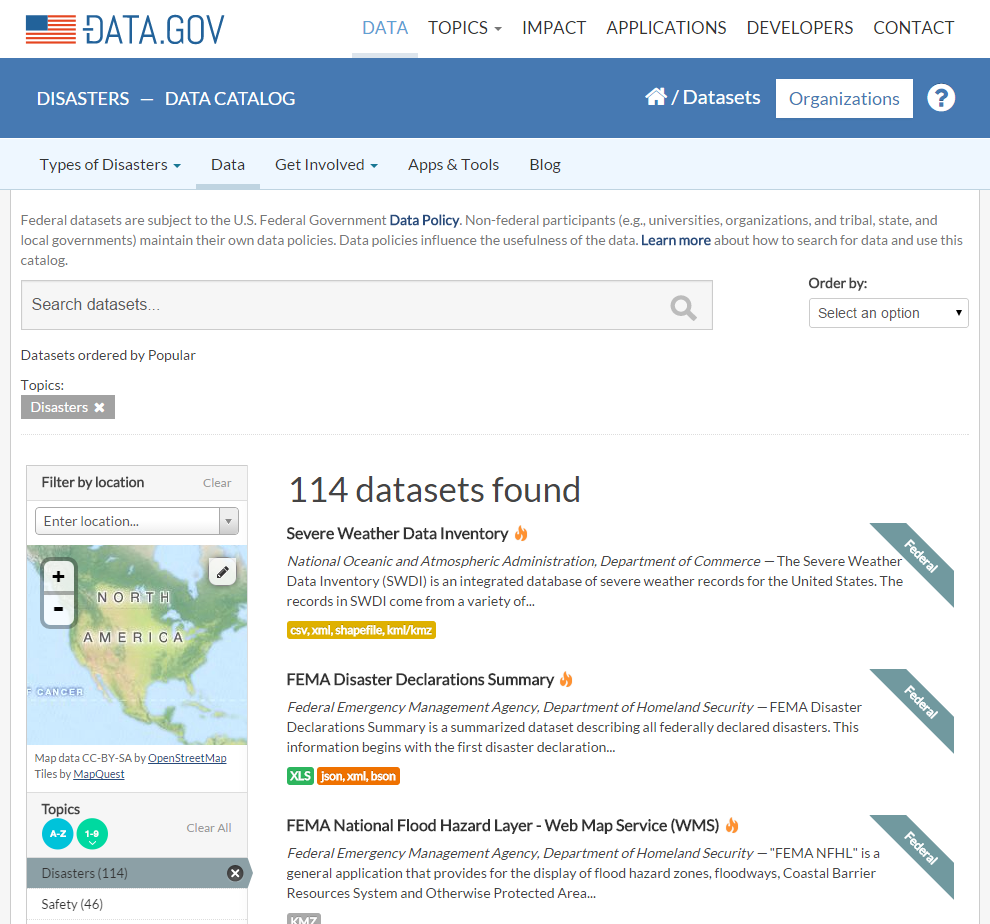 disaster.data.gov screenshot