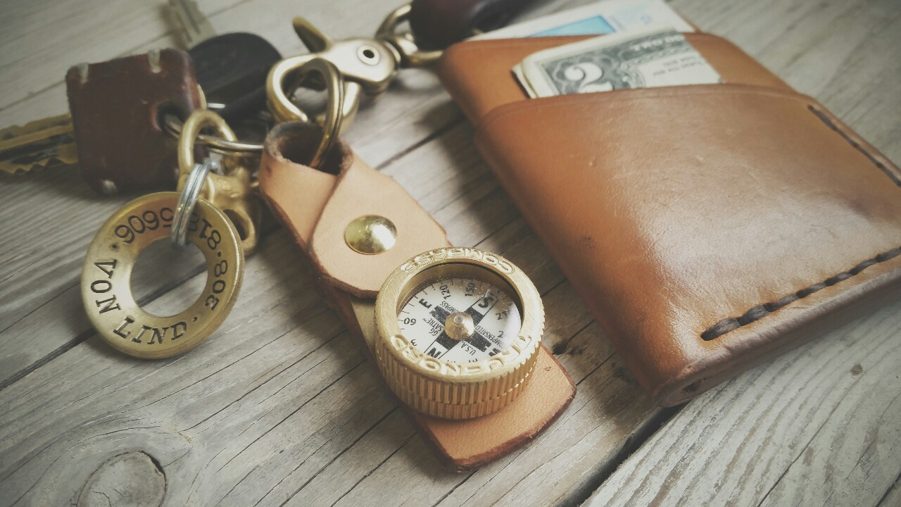 craftandlore :     Field testing a leather key fob I built for this solid brass compass by Tru-Nord.