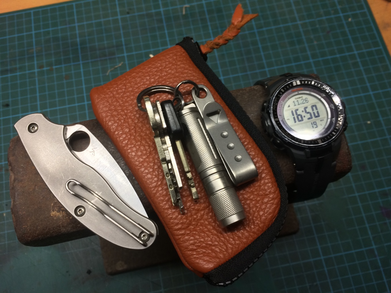 mpdwa: edc knife, wallet, keys with pocket clip and torch and watch