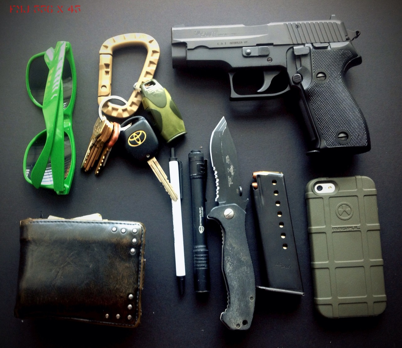 fmj556x45 :     EDC    Cheap sunglasses  FDE plastic carabiner (these suck)  Keys  Fox40 SHARX whistle od green  Sig p6 8+1 115gr. 9mm JHP  Wallet w/CHL and always $100 cash stashed  Bic clic stic   Streamlight stylus pro  Emerson Mini CQC-15 (2011)  Spare mag 8 rounds 115 gr. 9mm JHP  iPhone 5 in od green Magpul case