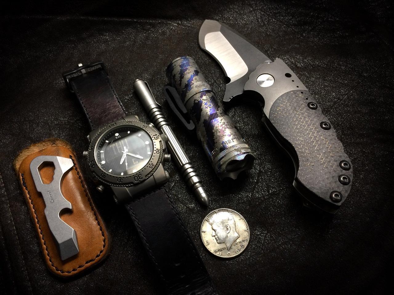 im-prepared :      Atwood G3 Mini Keyton Pocket Tool    Ti 5.11H.R.T. Watch     Zero Tolerance Custom Knive    Ti Lens Light Mini