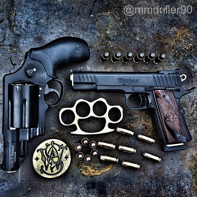 gunsdaily: @mmdriller90 Today's truck gun and personal carry. #SmithandWesson #governor #revolver #sixshooter #STI #Trojan #1911 #45ACP #45LongColt #410 #brassknuckles #hollowpoint #comeandtakeit #dontmesswithTexas #Texas #Texaspride #edc #everydaycarry #igmilitia #2A #111precent #sickguns #gunsdaily