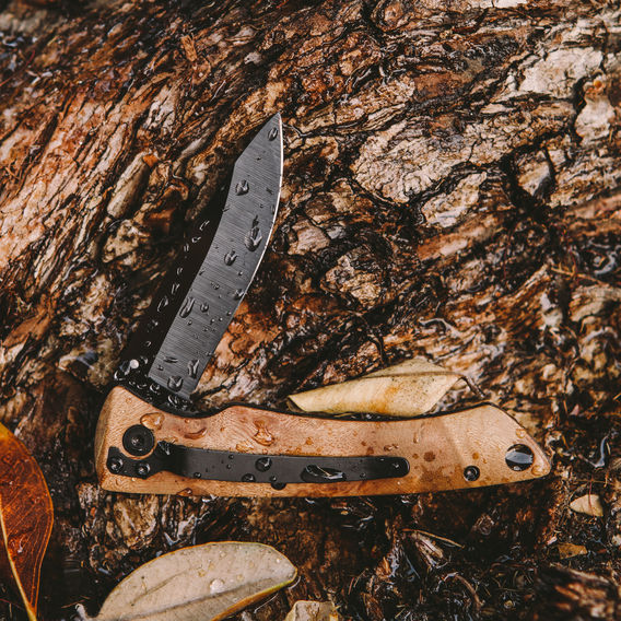 FOLDING KNIFE DESERT IRONWOOD     BY STONE RIVER GEAR