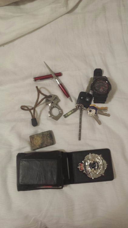 Thank you  theaustralian  for submitting,   Urban Operators Skull Defence tool, Australian Defence Force Zippo lighter, Casio G-Shock watch, Aluminium Hidden blade pen, -key ring- T.E.C Glow Fob and T.E.C Centipede, wallet w/Swiss army card and American express card lock pick set and my security officers badge/card holder           Submit Yours