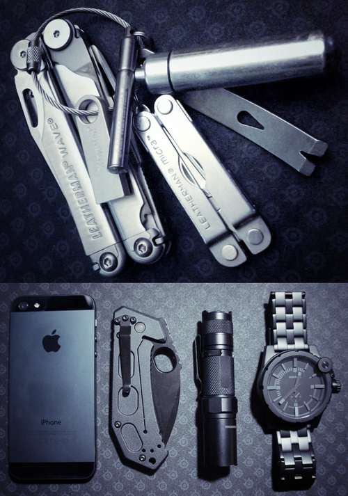 everyday-carry :     Everyday Carry Submitted By: Myfilthyheart     Leatherman Wave -  Purchase on Amazon      Leatherman Micra  -  Purchase on Amazon     Pill-Fob  -  Purchase on Amazon     True Utility TelePen  -  Purchase on Amazon     Kensington DTSE9 16GB flash drive  -  Purchase on Amazon     CountyComm Micro Pocket Widgy Pry Bar     Mechanics Keyring  -  Purchase on Amazon     32GB iPhone 5  -  Purchase on Amazon     Ka-Bar FIN  -  Purchase on Amazon     Fenix LD10  -  Purchase on Amazon     Diesel DZ4235  -  Purchase on Amazon         http://www.dailycarry.co
