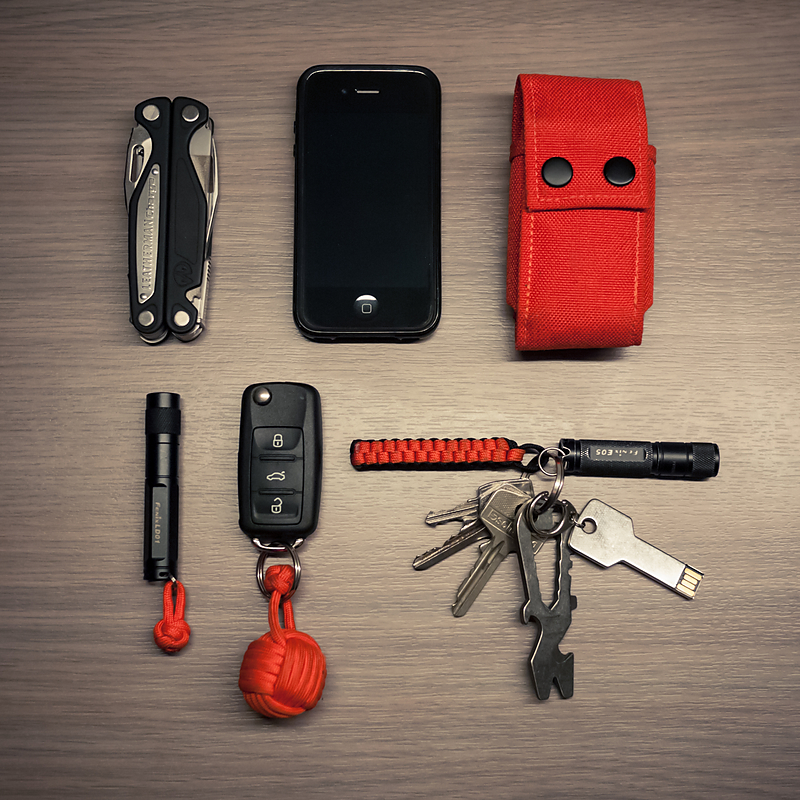 everydaycarry :       Leatherman Charge ALX     iPhone 4     Skinth L-Shield     Fenix LD-01    Car keys with paracord monkey's fist    Schrade Titanium Pry Tool     Fenix E-05     Lacie 16GB iamakey      Read More       http://www.dailycarry.co