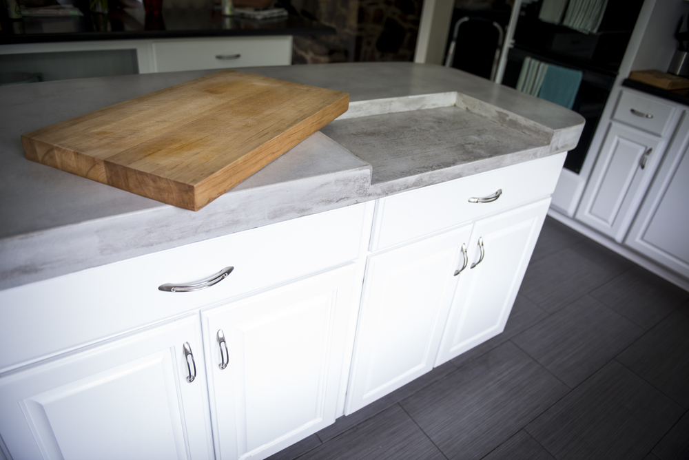 Inhabit Concrete Design   Cincola Kitchen Island GFRC 73x 28x 3.5 Butcher  Block Cutting Board.