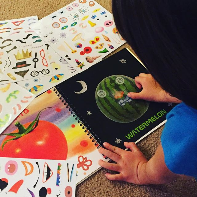 #creative way to #learn #fruitsandveggies Inspire #creativity through interactive #art  #kindergarten #preschool #funnyfaces #funforkids #learningisfun #learnthroughplay #learningthroughplay #watermelon #dreamingdaddy #stickers #stickerbook #mommyandme #kidsbooks #character #makeface #makefaces