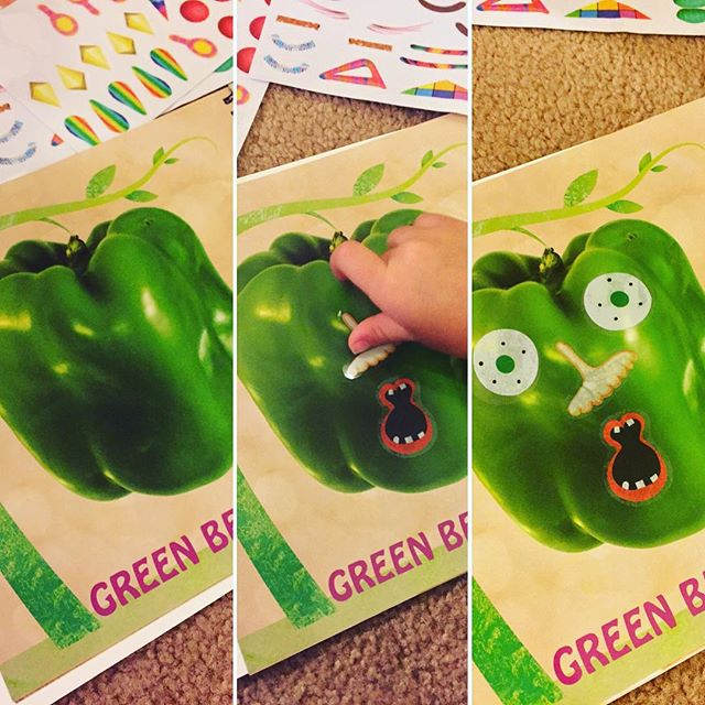 Transform your green bell pepper.  Fun sticker book to inspire creativity through interactive art. #dreamingdaddy #creativity #stickerbook #stickers #funnyfaces #funforkids #kidsbooks #learnthroughplay #learningthroughplay #learningisfun #preschool #preschool #playandlearn #art #fruitsandveggies #familyfun #character #mommyandme #bellpepper
