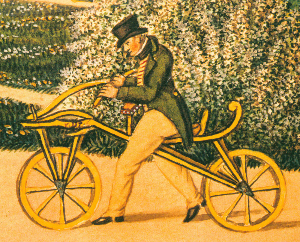 "Illustration of Karl von Drais riding his"" Laufmasshine"" (aka Dandy Horse)"
