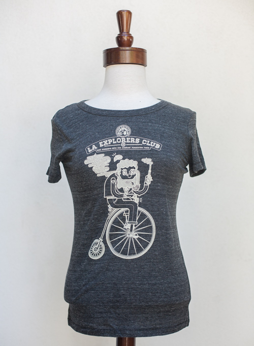 Fitted Women's t-shirt in Heathered Charoal Gray. 50% Polyester, 28% Cotton, 12% Rayon. Sizes S, M, L, XL