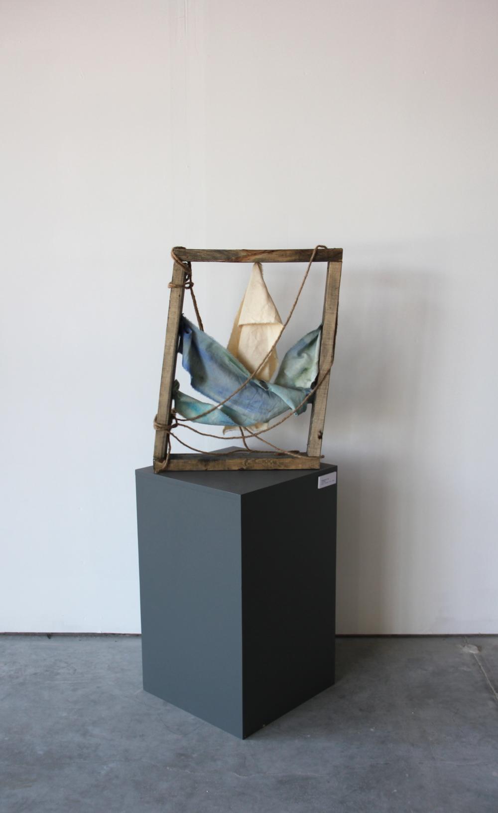 'Flotsam'  wood, un-primed canvas, rope, oil