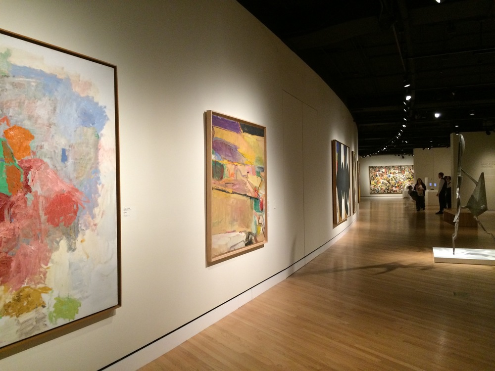 A wall of abstract expressionism at Crystal Bridges' exhibit Van Gogh to Rothko