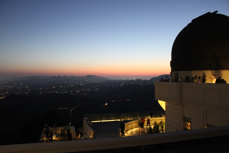 The view from  Griffith Observatory  at sunset. We arrived about an hour before and had a great view of the Hollywood Sign, the valley, and the sweeping city, which became more beautiful as the sun set and twinkling lights filled the expanse.