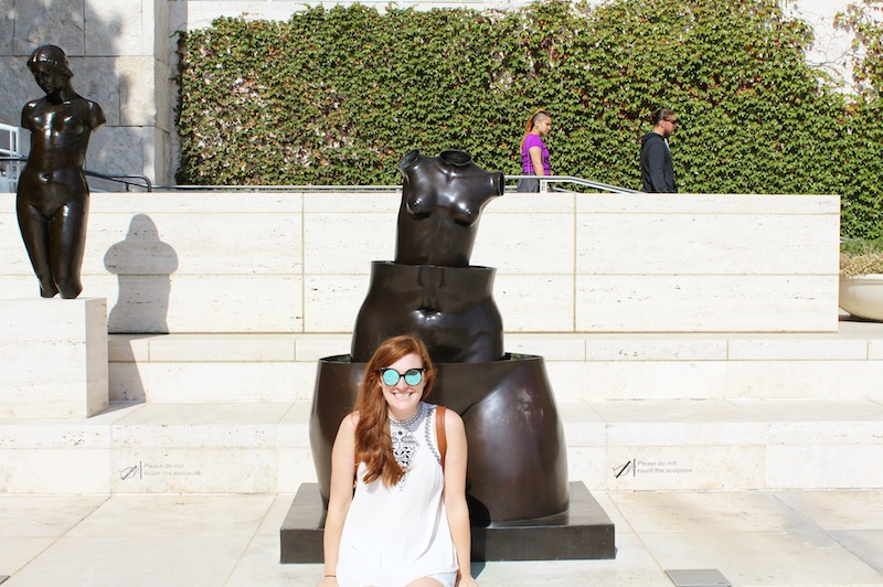Chillin' with a statue that reminds me of a Russian nesting doll.