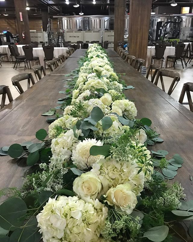 24 foot full floral head table garland.