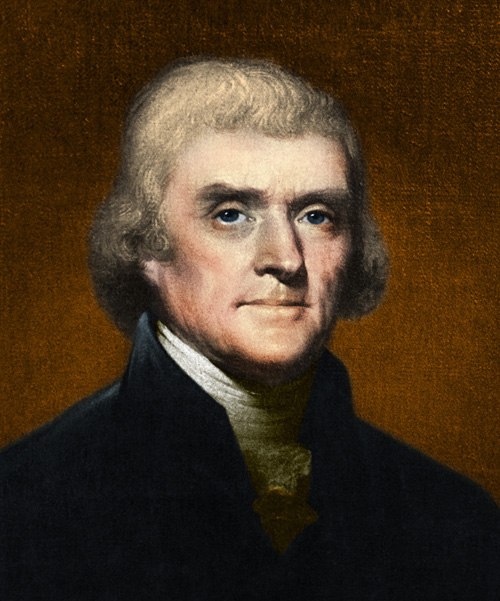"""BX1933 - Portrait of Jefferson by artist Rembrandt Peale, believed to be from 1803. JThomas Jefferson (April 13, 1743 - July 4, 1826) was an American Founding Father, the principal author of the United States Declaration of Independence (1776) and third President of the United States (1801-1809). At the beginning of the American Revolution, Jefferson served in the Continental Congress, representing Virginia. He was the first United States Secretary of State (1790-1793). As Vice-President opposed to John Adams, Jefferson with Madison secretly wrote the Kentucky and Virginia Resolutions, which attempted to nullify the Alien and Sedition Acts and formed the basis of states' rights. Elected president in what Jefferson called the Revolution of 1800, he oversaw a peaceful transition in power, purchased the vast Louisiana Territory from France (1803), and sent the Lewis and Clark Expedition (1804-1806) to explore the new west. A plantation owner's son, Jefferson trained as a lawyer but claimed to have """"an abiding passion for mathematics and the natural sciences, particularly those branches applicable to agriculture"""". He was in contact with some of the leading figures in the European scientific Enlightenment and helped to introduce their discoveries and new ways of thinking to the United States. He also carried out systematic, archaeological excavations of American Indian burial mounds in Virginia in 1784. On July 4th at ten minutes before one o'clock Jefferson died at the age of 83, the fiftieth anniversary of the Declaration of Independence and a few hours before John Adams, whose own last words were, """"Independence forever"""" and """"Thomas Jefferson survives.""""    Images © Science Source"""