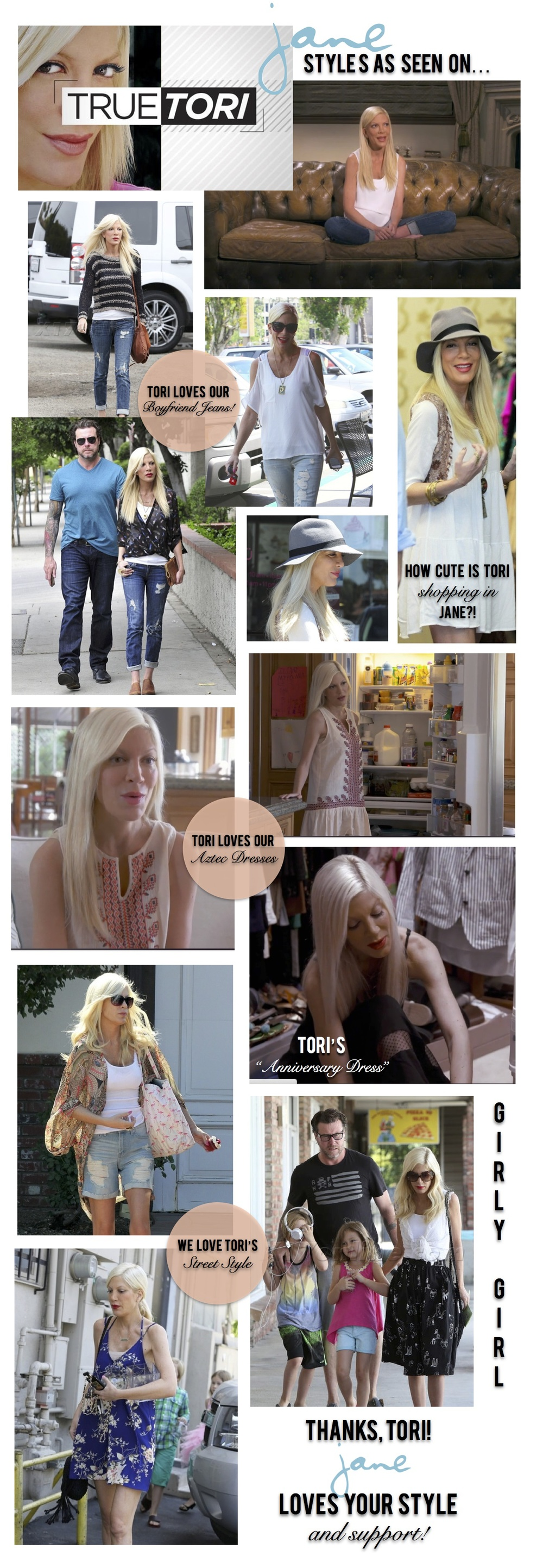 Jane has been lucky to be graced by the lovely Tori Spelling on multiple occasions, where she has left our store head to toe in Jane! Her street style and on camera ensembles have featured so many pieces from our store that we just had to take a moment to thank her for all the support!
